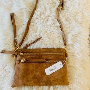 Light Brown Leather Crossbody/Clutch Purse